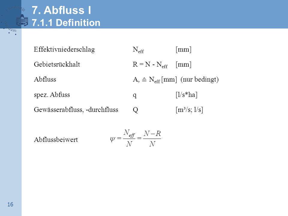7. Abfluss I 7.1.1 Definition Effektivniederschlag Neff [mm]